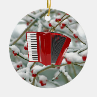 Red Accordion - Berries in the Snow Background Christmas Ornament