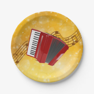 Red Accordion, Musical Notes on Gold Background Paper Plate