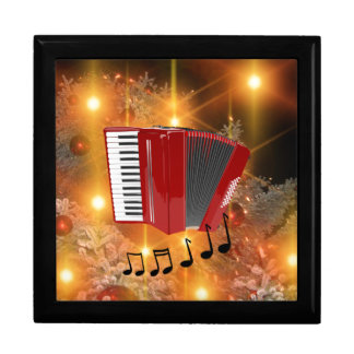 Red Accordion on Gold Christmas Motif Large Square Gift Box