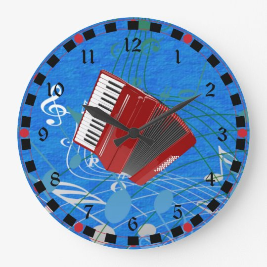Red Accordion on Musical Notes Large Clock