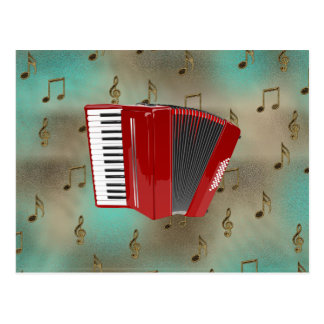 Red Accordion on Musical Notes Postcard