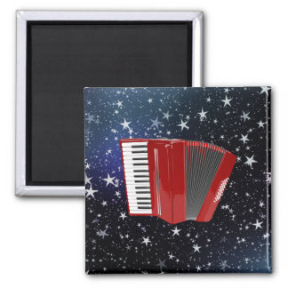 Red Accordion on Night Sky Square Magnet