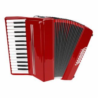 Red Accordion Standing Photo Sculpture