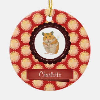 Red Add Your Name Hamster Christmas Ornament