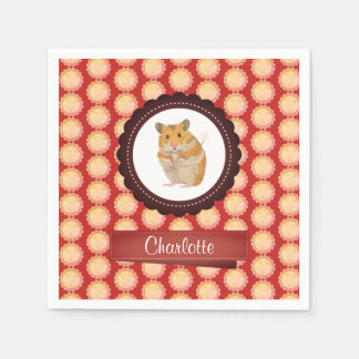 Red Add Your Name Hamster Paper Napkins