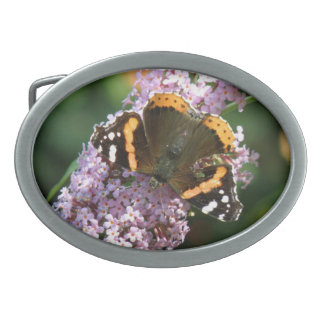 Red Admiral Butterfly and Buddleia Belt Buckle