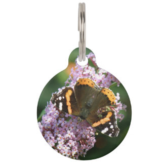 Red Admiral Butterfly and Buddleia Custom Dog Tag