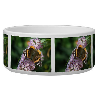Red Admiral Butterfly and Buddleia Dog Bowl