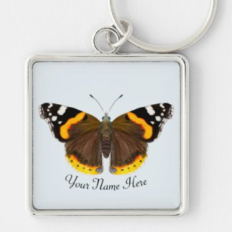 Red Admiral Butterfly Artwork Key Ring