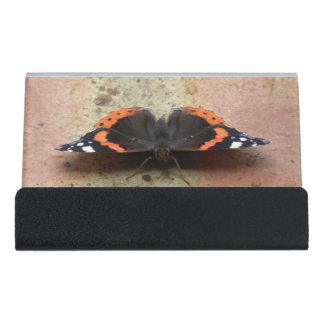 Red Admiral Butterfly Business Card Holder