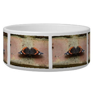 Red Admiral Butterfly Dog Bowl