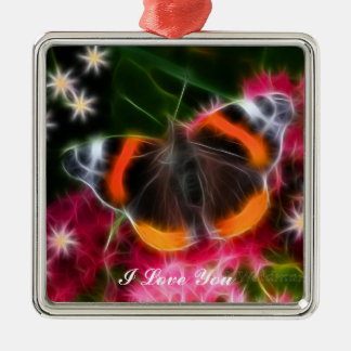 Red Admiral Butterfly Fractal Christmas Ornament
