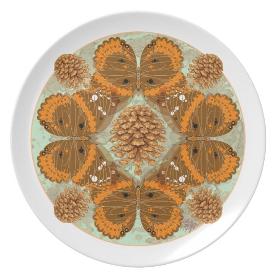 Red Admiral Butterfly Mandala Plate