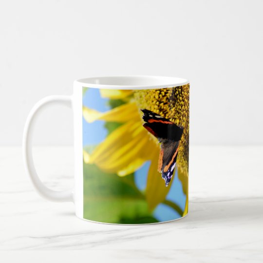 Red Admiral Butterfly on a Sunflower Coffee Mug