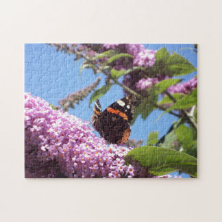 Red Admiral Butterfly on Buddleia Jigsaw Puzzle