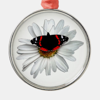 Red Admiral Butterfly on Flower Christmas Ornament