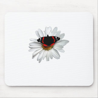 Red Admiral Butterfly on Flower Mouse Pads