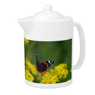 Red Admiral Butterfly Teapot