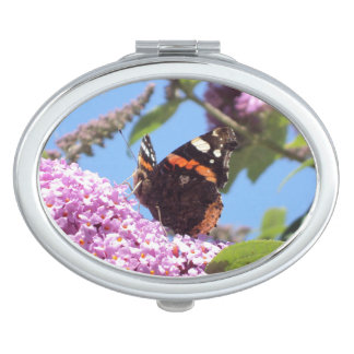 Red Admiral Butterfly Travel Mirror