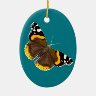 Red Admiral Butterfly Watercolor Painting Artwork Ceramic Oval Decoration