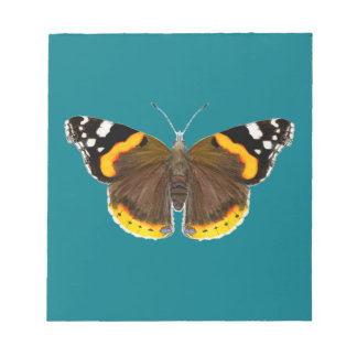 Red Admiral Butterfly Watercolor Painting Artwork Notepad