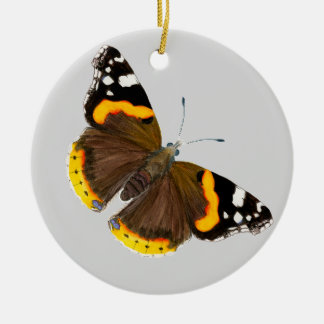 Red Admiral Butterfly Watercolor Painting Artwork Round Ceramic Decoration