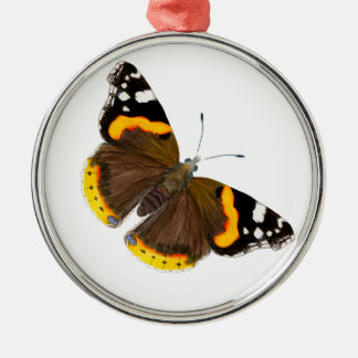 Red Admiral Butterfly Watercolor Painting Artwork Silver-Colored Round Decoration