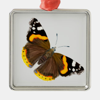 Red Admiral Butterfly Watercolor Painting Artwork Silver-Colored Square Decoration