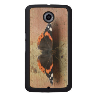 Red Admiral Butterfly Wooden Wood Phone Case