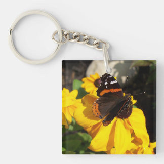 Red Admiral on Black Eyed Susan Single-Sided Square Acrylic Key Ring