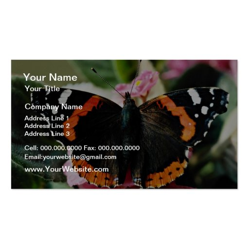 Red admiral, Vanessa atalanta  flowers Business Card Template
