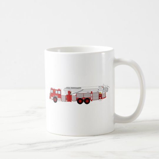 Red Aerial Scope Custom Fire Truck Design Coffee Mug