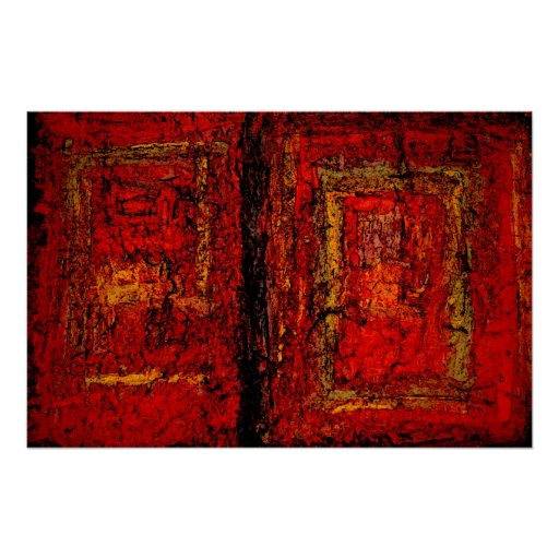 Red African Abstract Painting Art Print Poster