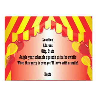 "Red Afro Clown Party Celebration Invitation 5.5"" X 7.5"" Invitation Card"