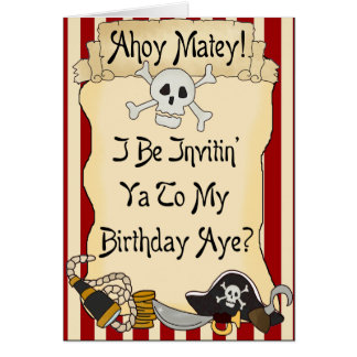 Red Ahoy Matey Pirate Birthday Invites Greeting Card