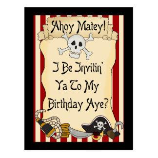Red Ahoy Matey Pirate Birthday Invites Postcard