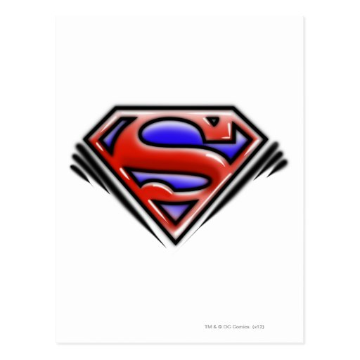 Red Airbrush Superman Logo Post Cards