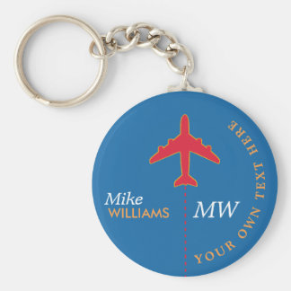 red airplane on blue keychain with name
