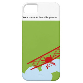 Red airplane on plain lime green iPhone 5/5S cover