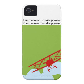 Red airplane on plain lime green Case-Mate iPhone 4 cases