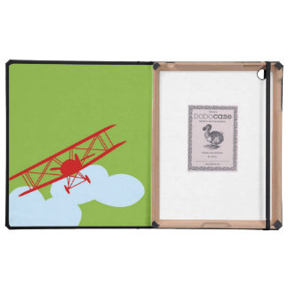 Red airplane on plain lime green iPad covers