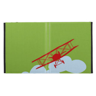 Red airplane on plain lime green iPad case