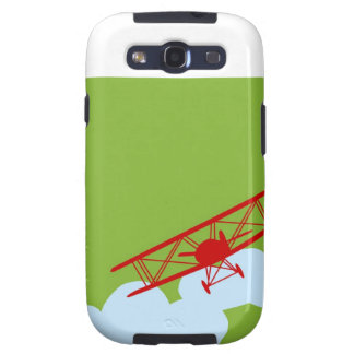 Red airplane on plain lime green galaxy s3 cases