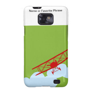 Red airplane on plain lime green galaxy s2 cases