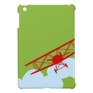 Red airplane on plain lime green iPad mini cases
