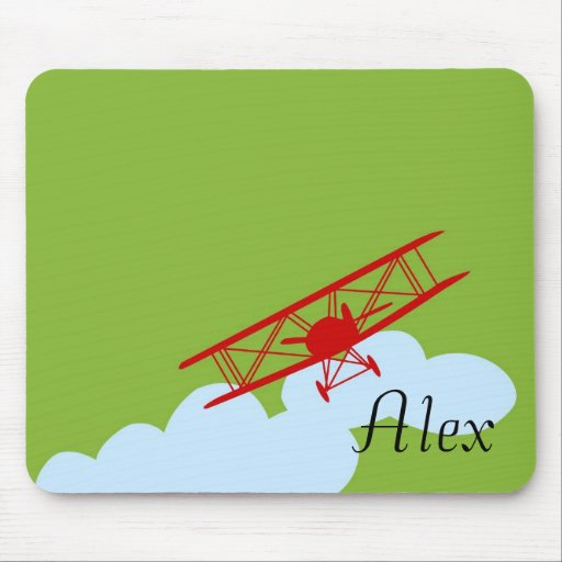 Red airplane on plain lime green. mouse pad