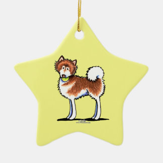 Red Alaskan Malamute Playtime Ceramic Star Decoration