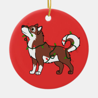 Red Alaskan Malamute with Christmas Lights Christmas Ornament