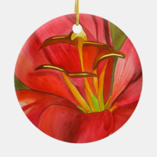 Red Alert Lily watercolor art flower painting Round Ceramic Decoration