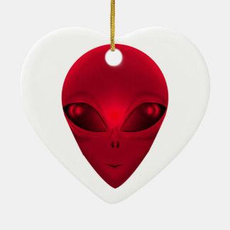 RED ALIEN CERAMIC HEART DECORATION